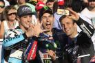 Chippenham-born Moto3 world champion Danny Kent (left) celebrates his triumph with a selfie with MotoGP champion Jorge Lorenzo, of Spain, and Moto2 rider Johan Zarco, from France, right, at the end of the Grand Prix season in Valencia on Sunday