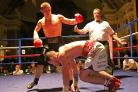 Joe Hughes has Anthony Upton in trouble during Saturday's fight