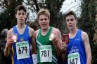 Freddie Webb (centre), who won the Wiltshire Under 17s mens cross-country championships, with Rob Howorth (left) and and Jaymee Domaney