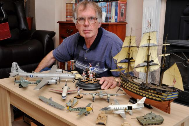 Airfix model expert Jeremy Brook with his collection