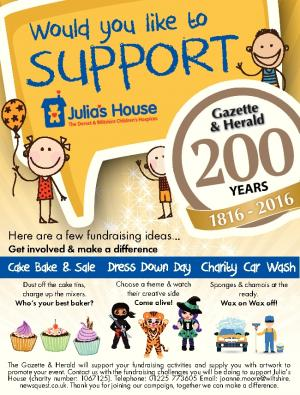 The Wiltshire Gazette and Herald: The Gazette & Herald's 200 Appeal supports our chosen charity - Julia's House - with the aim of raising £100,000 to support eight community carers for the children's hospice in Wiltshire.