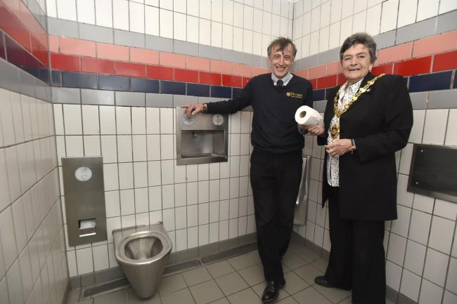 Devizes Mayor Jane Burton and Simon Fisher at refurbished toilets taken over from Wiltshire Council. Pics by Diane Vose DV4060/05.