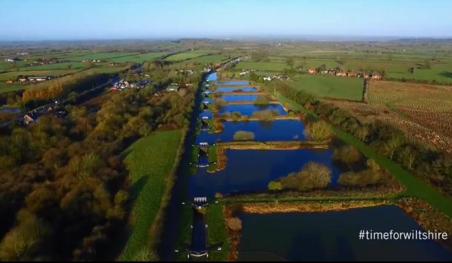 Caen Hill Locks at Devizes as filmed by drone for VisitWiltshire