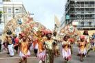 Dancers perform during the second and final day of the Notting Hill Carnival