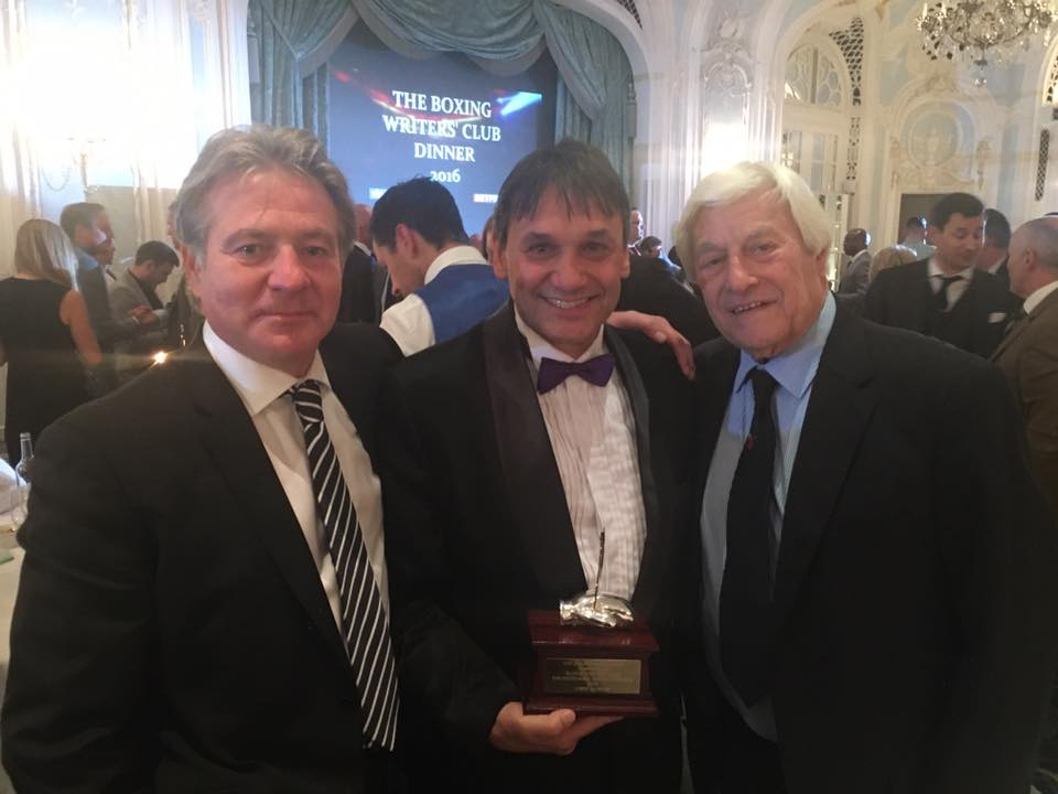 Chris Sanigar, with Robert Smith (general secretary of the British Boxing Board of Control, left) and boxing writer Colin Hart (right)