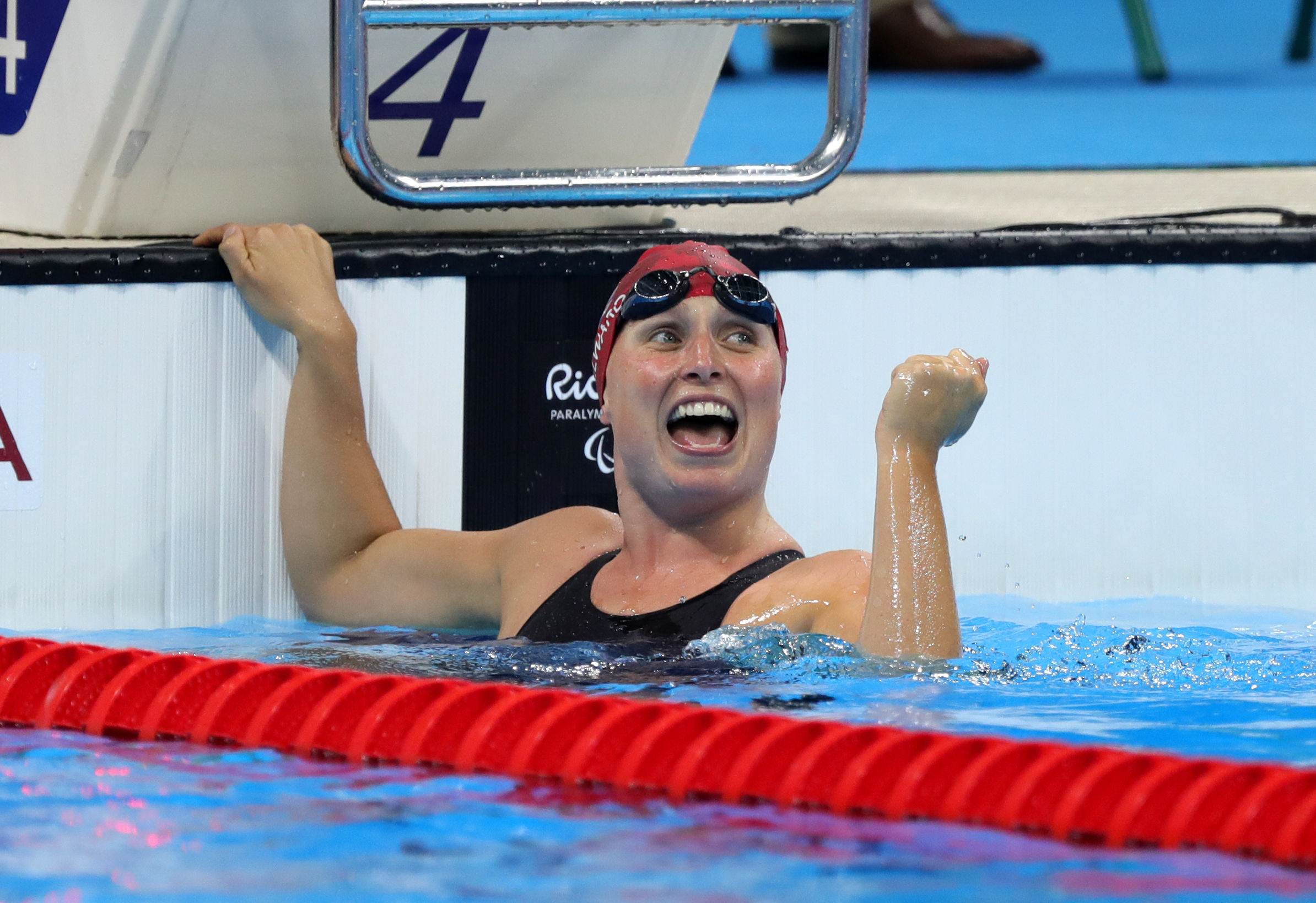 Great Britain's Stephanie Millward celebrates victory following the Women's 4x100m Medley-34pts Final on the ninth day of the 2016 Rio Paralympic Games in Rio de Janeiro, Brazil. PRESS ASSOCIATION Photo. Picture date: Friday September 16, 2016. Ph