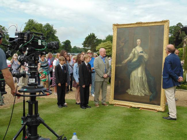 The Marie Heathcote painting on Antiques Roadshow with then head teacher Malcolm Irons