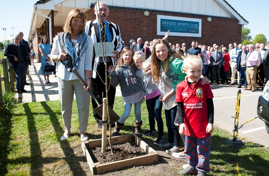 The tree planting ceremony at Devizes RFC on Saturday in memory of Vince Gaiger