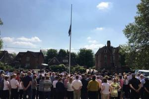 Wiltshire Police colleagues gather for the one minute silence to honour the victims of the Manchester Arena attack