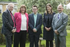 Hustings took place at Sheldon School with the three candidates standing for the Chippenham constituency. Pictured (l-r) Andy Newman (Lab), Helen Belcher (Lib Dem), organiser Toby Shiraziam, Michelle Donelan (Con) and headteacher Neil Spurdell. Pictures C