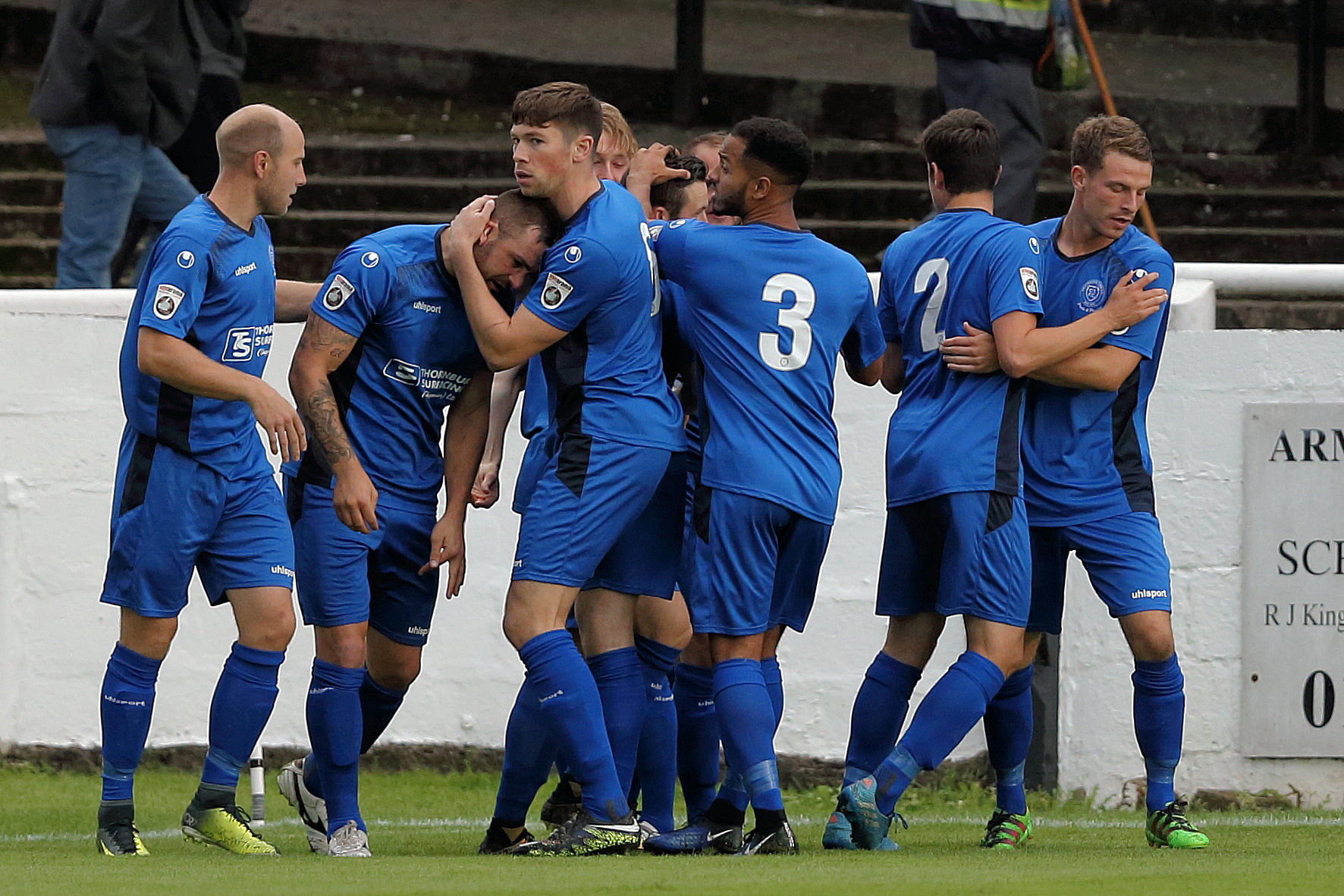 Chippenham Town celebrate Matt Smith's opener at Twerton Park (Picture: RICHARD CHAPPELL)