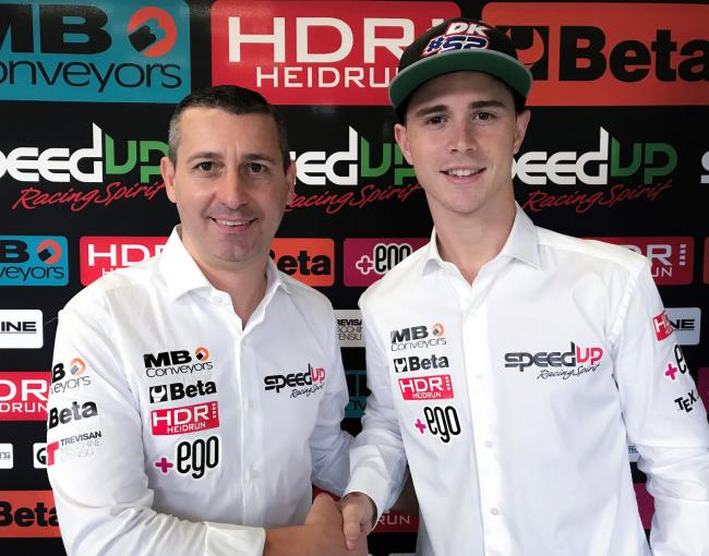 Danny Kent (right) with Speed Up racing team chief Luca Boscoscuro