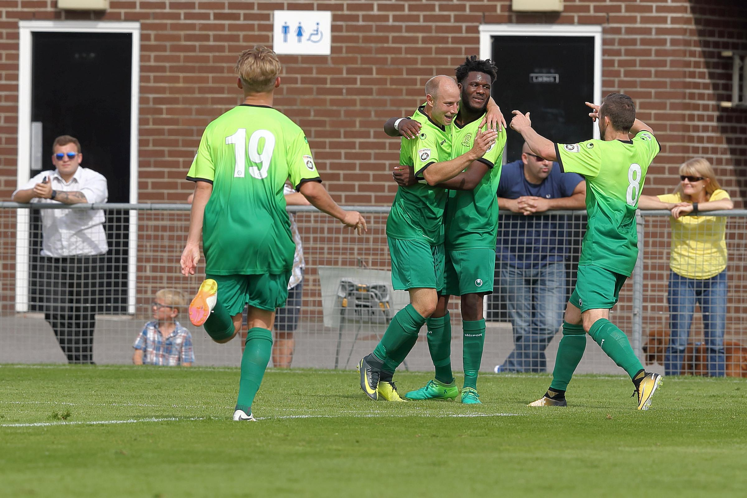 Dave Pratt is congratulated on his goal at Weston-super-Mare. PICTURE: RICHARD CHAPPELL