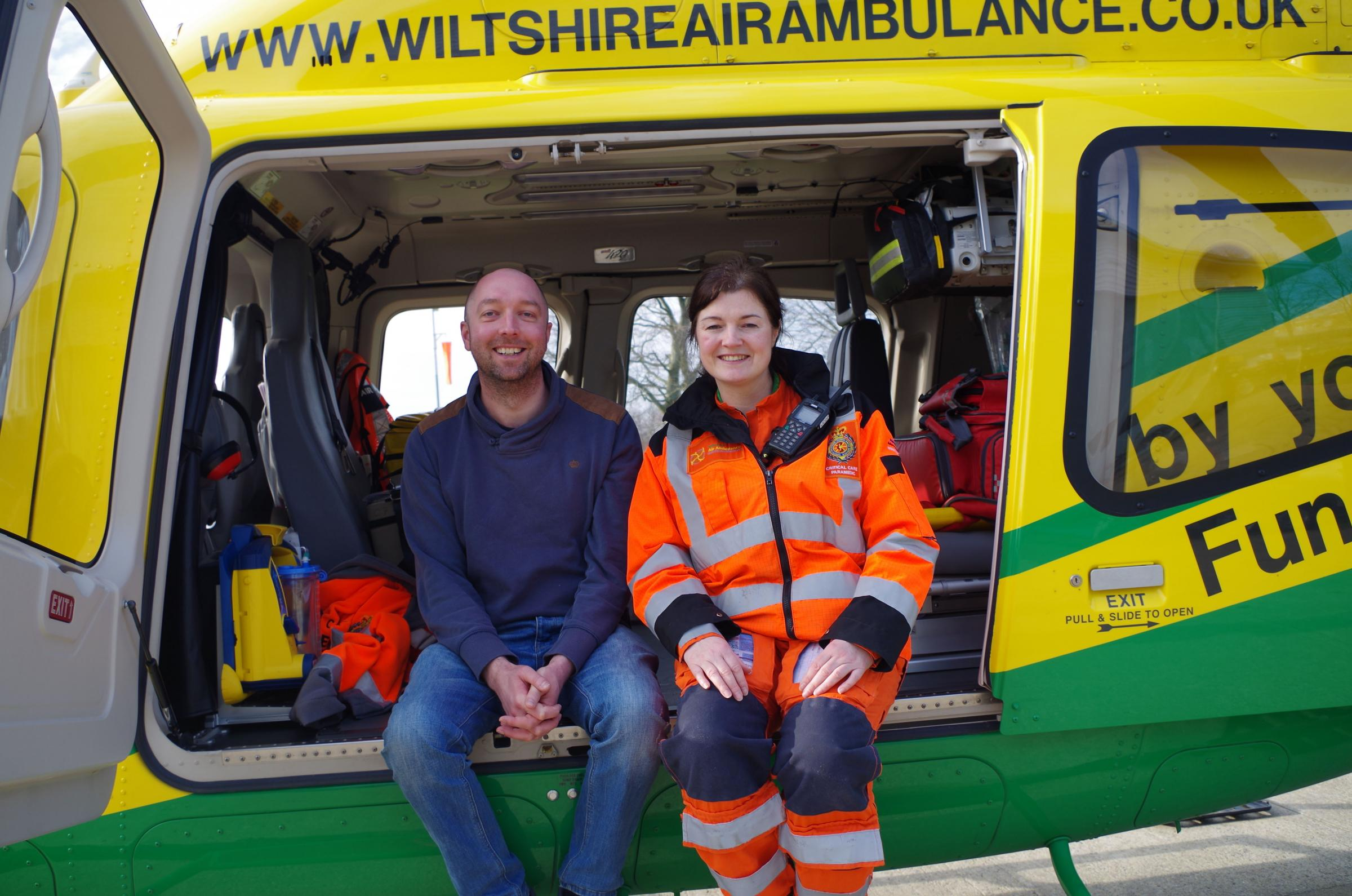 Kevin Eggleton with Wiltshire Air Ambulance critical care paramedic Jo Munday