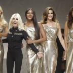 The Wiltshire Gazette and Herald: From left, Claudia Shiffer, Donatella Versace, Naomi Campbell, Cindy Crawford and Helena Christensen on the catwalk at the end of the Versace women's Spring/Summer 2018 fashion collection, presented in Milan, Italy, Friday, Sept. 22, 2017. (AP Photo/Luc