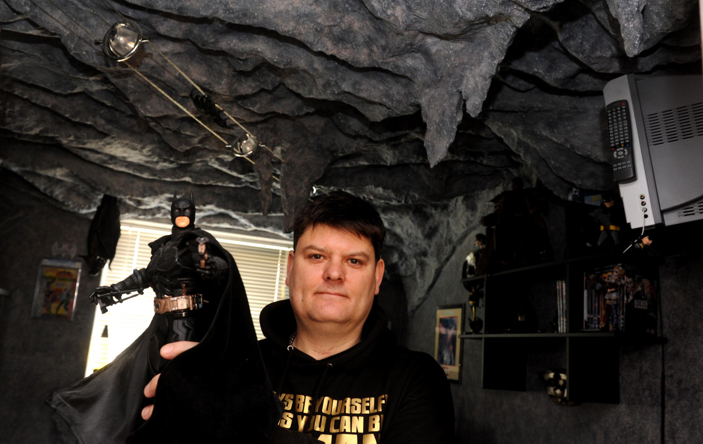 Batman fan Darren Wilson of Calne turned a room in his house into a Bat Cave .Siobhan Boyle (SMB844/1).
