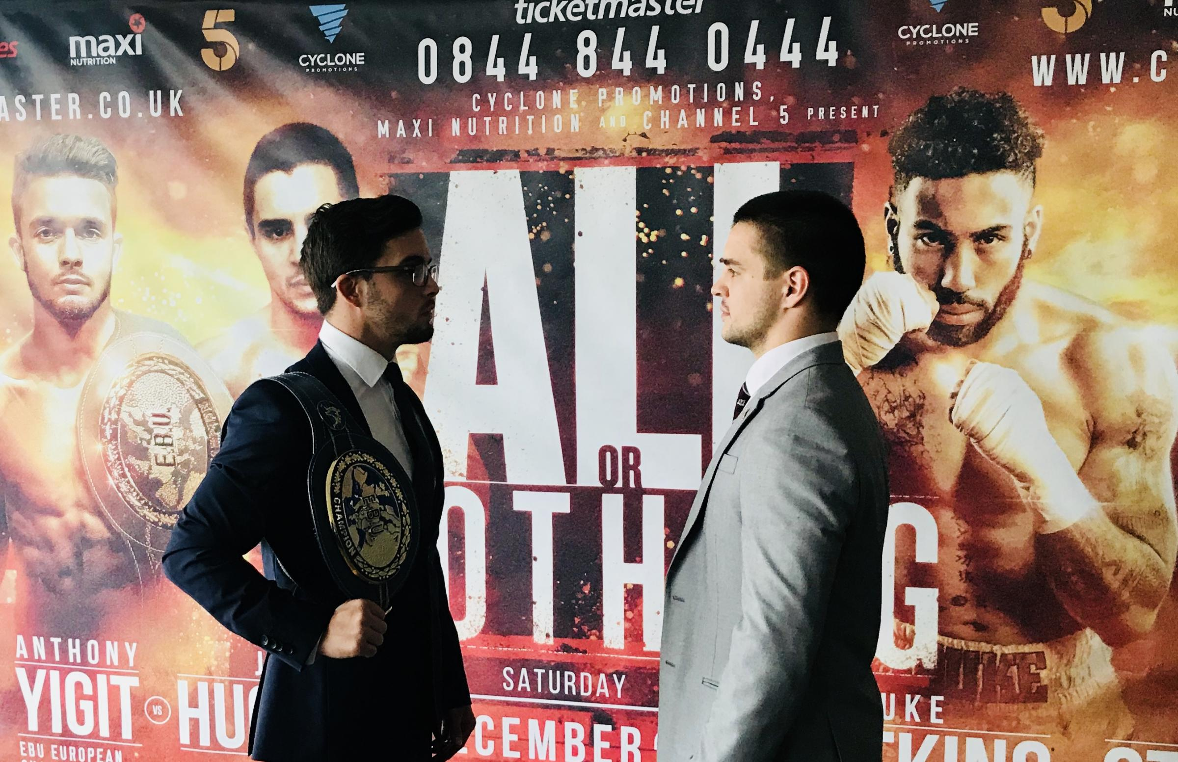 Joe Hughes (right) faces off with European champion Anthony Yigit ahead of their fight Picture: CYCLONE PROMOTIONS