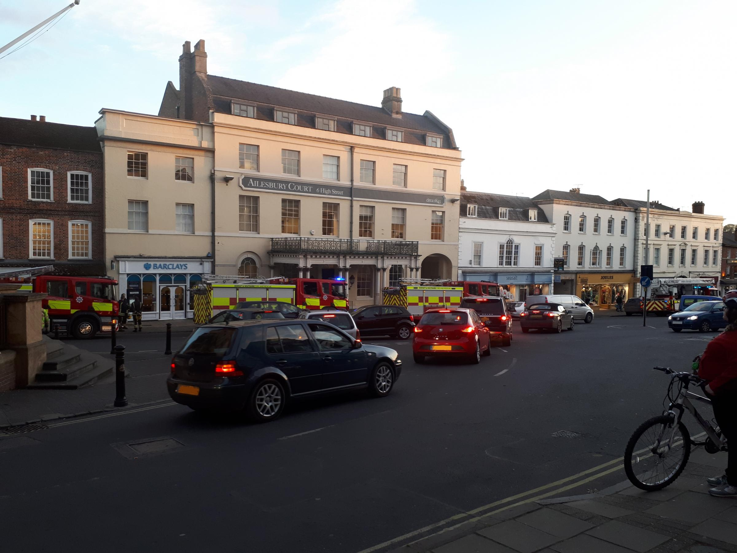 Fire services called to Barclays in Marlborough after staff members smelled smoke.