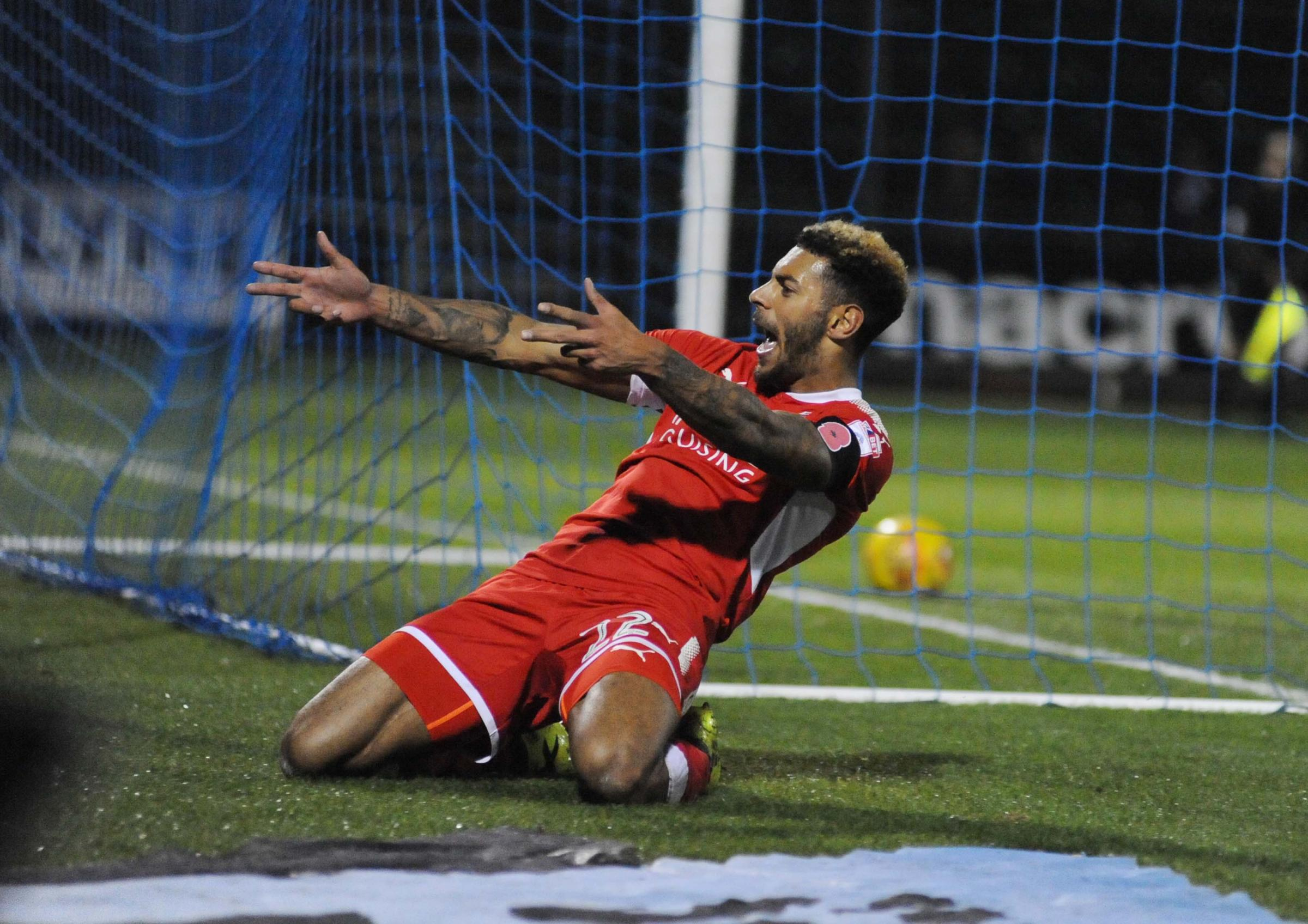 Kaiyne Woolery celebrates the goal he scored against Bristol Rovers on Wednesday night