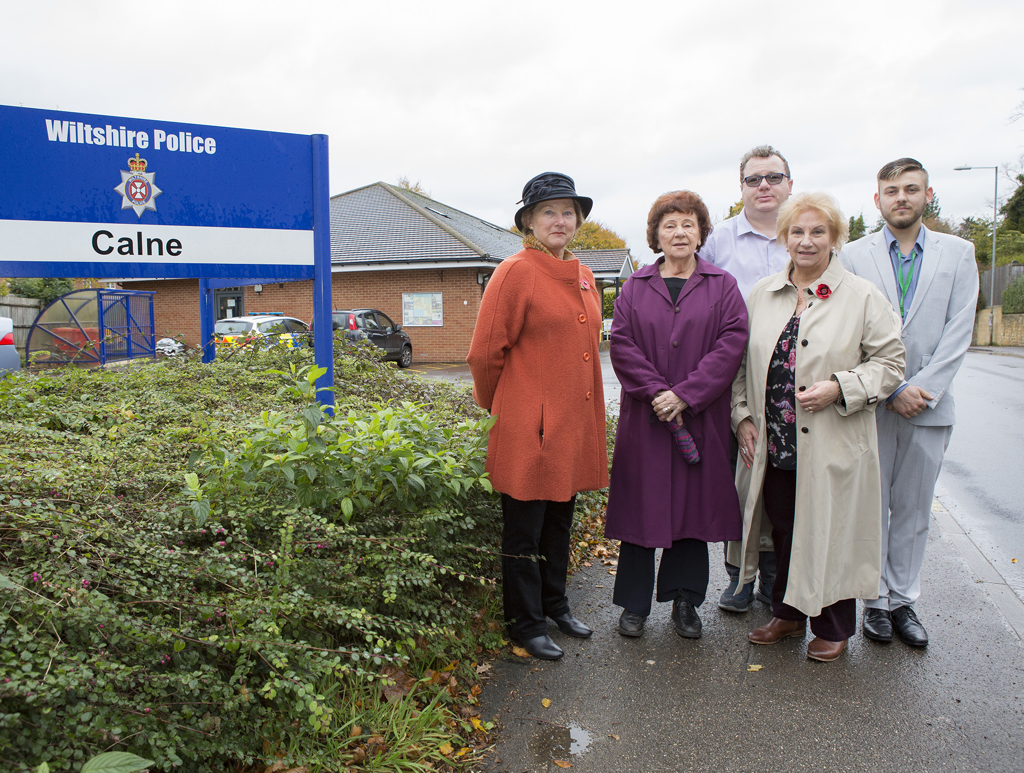 Potential Police Station Closure..Location: Calne Police Station..Pictured: Councillors Heather Canfer, Mercy Baggs, Robert Merrick, Glennis Ansell & Declan Boore..Picture: Nicola Salt NS004.01.07/11/17..