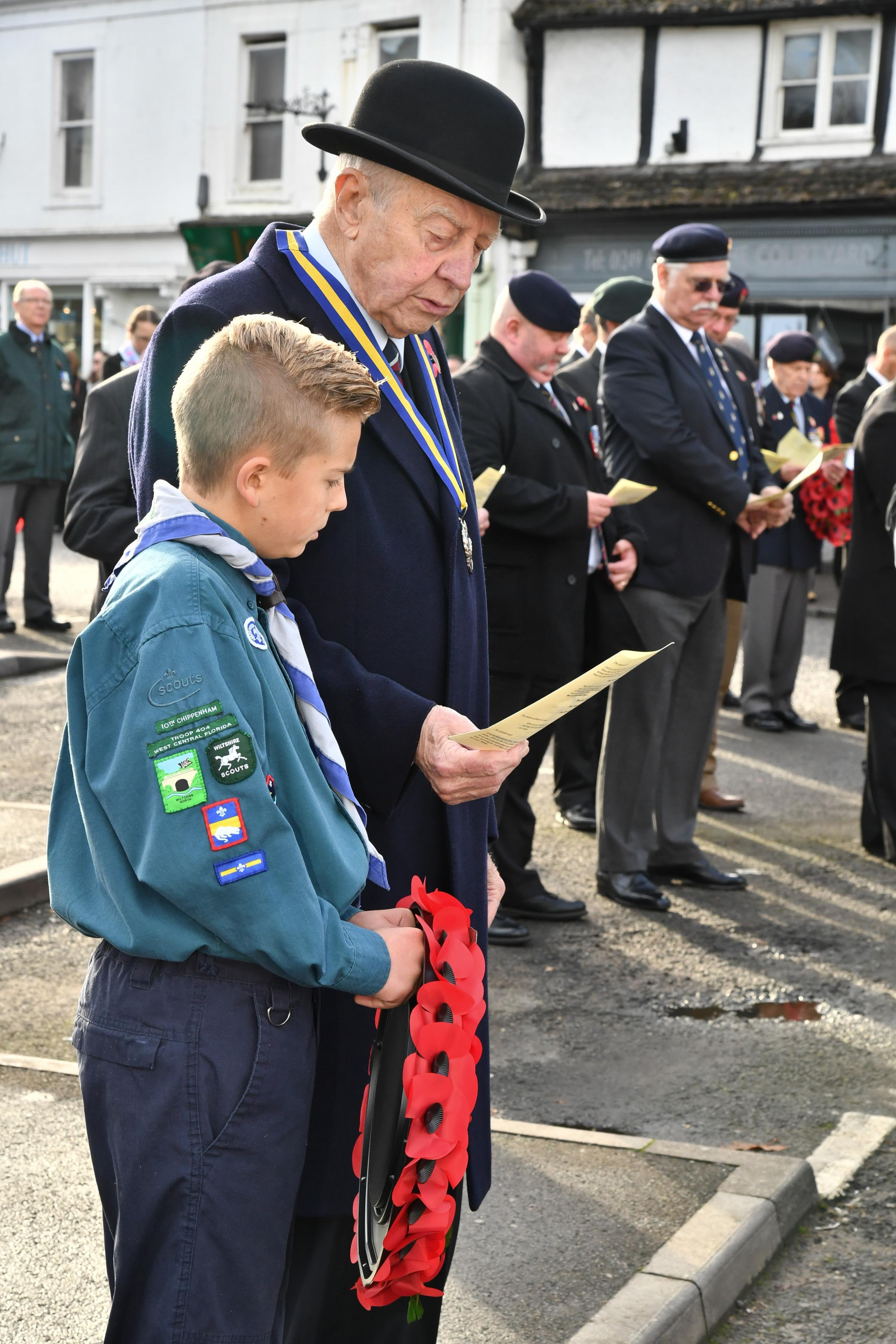 10th Chippenham Scout, Toby Bridgeman-Daw with the President of the Royal British Legion, Jim Scott in 2016