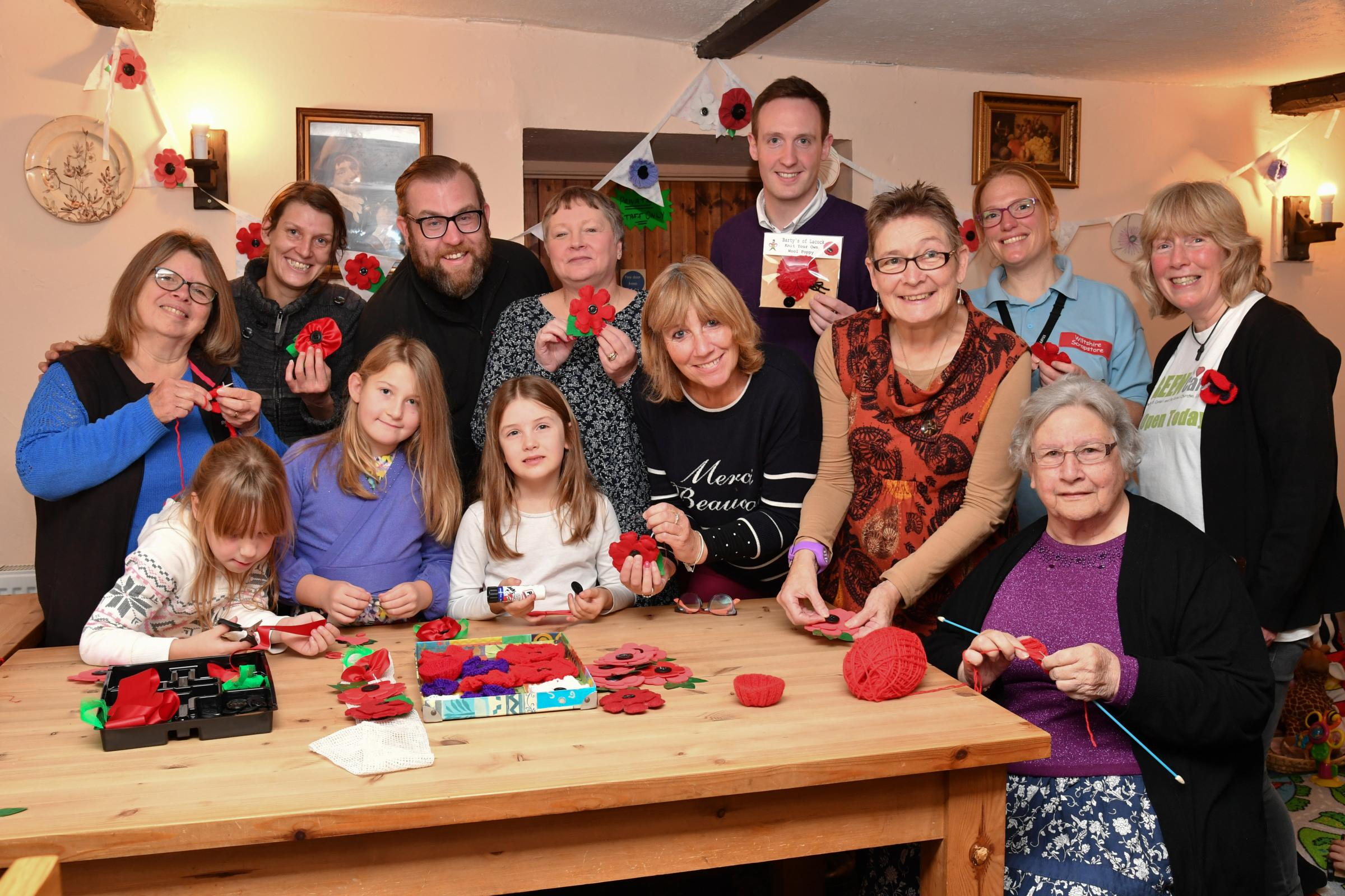 The launch of the Lacock Poppy project which took place in the Carpenters Arms in Lacock and was well supported by the local villagers Photo: Paul Stallard PS005.01.ends.