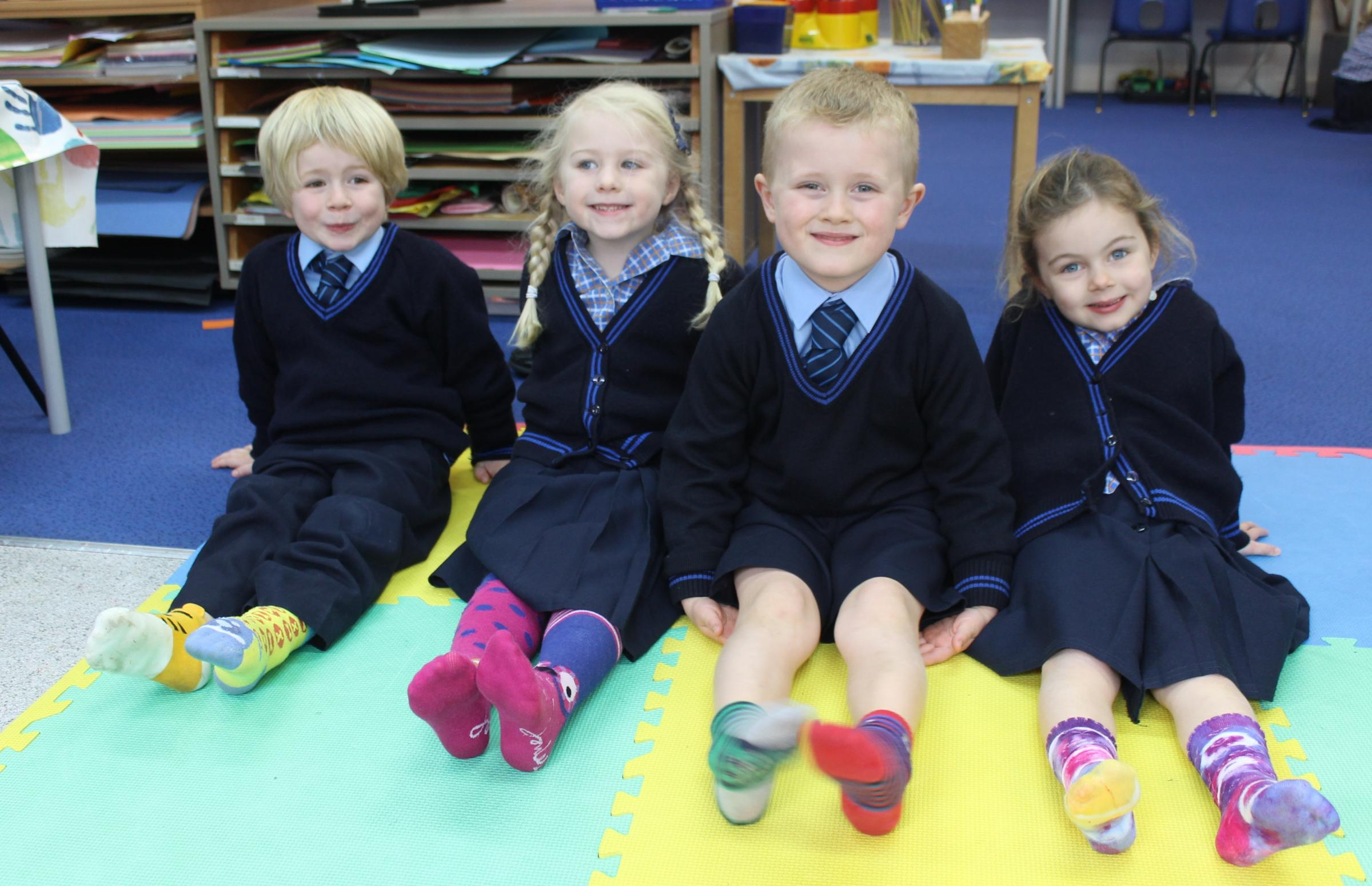 Reception class children from St Margaret's Preparatory School take part in Odd Sock Day