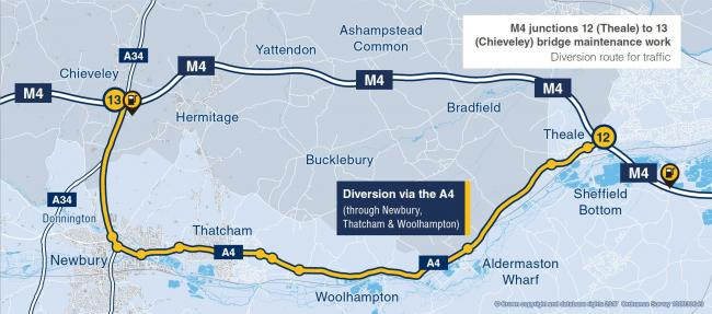The diversion route for the M4 weekend closure