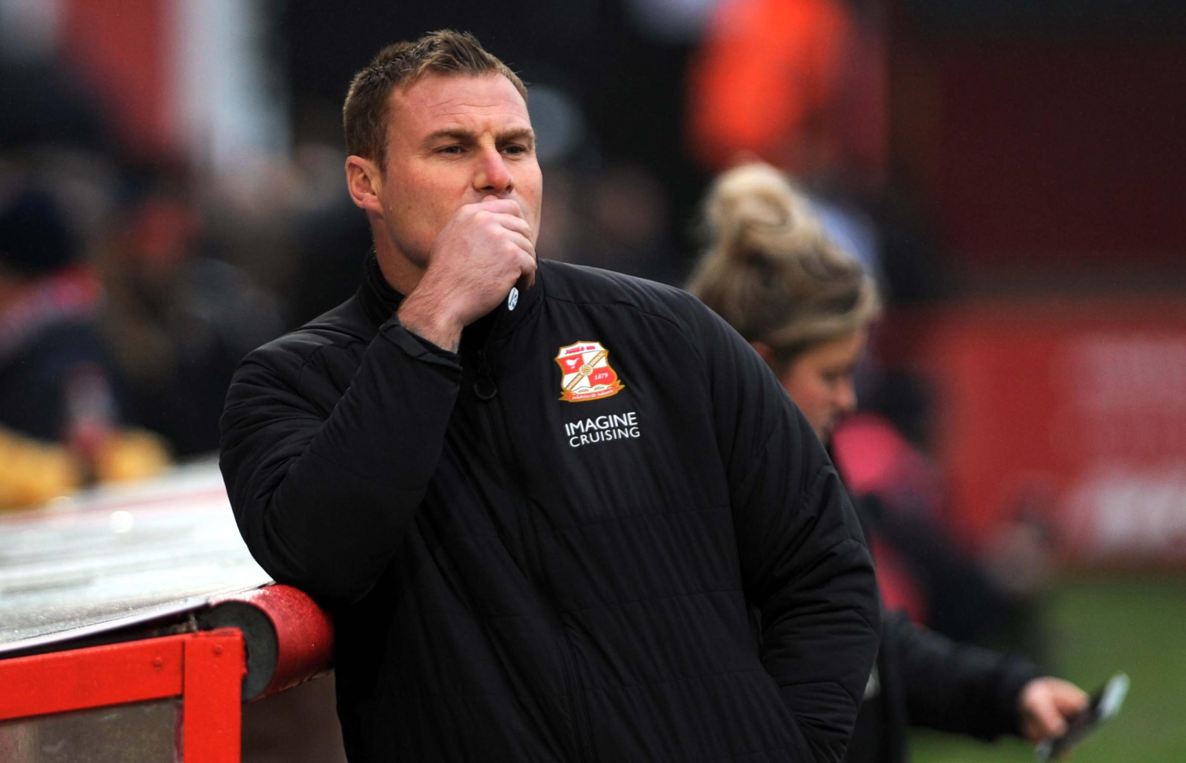 A thoughtful David Flitcroft in the dugout at the Lamex Stadium as Town made their FA Cup exit on Saturday (Picture: DAVE EVANS)