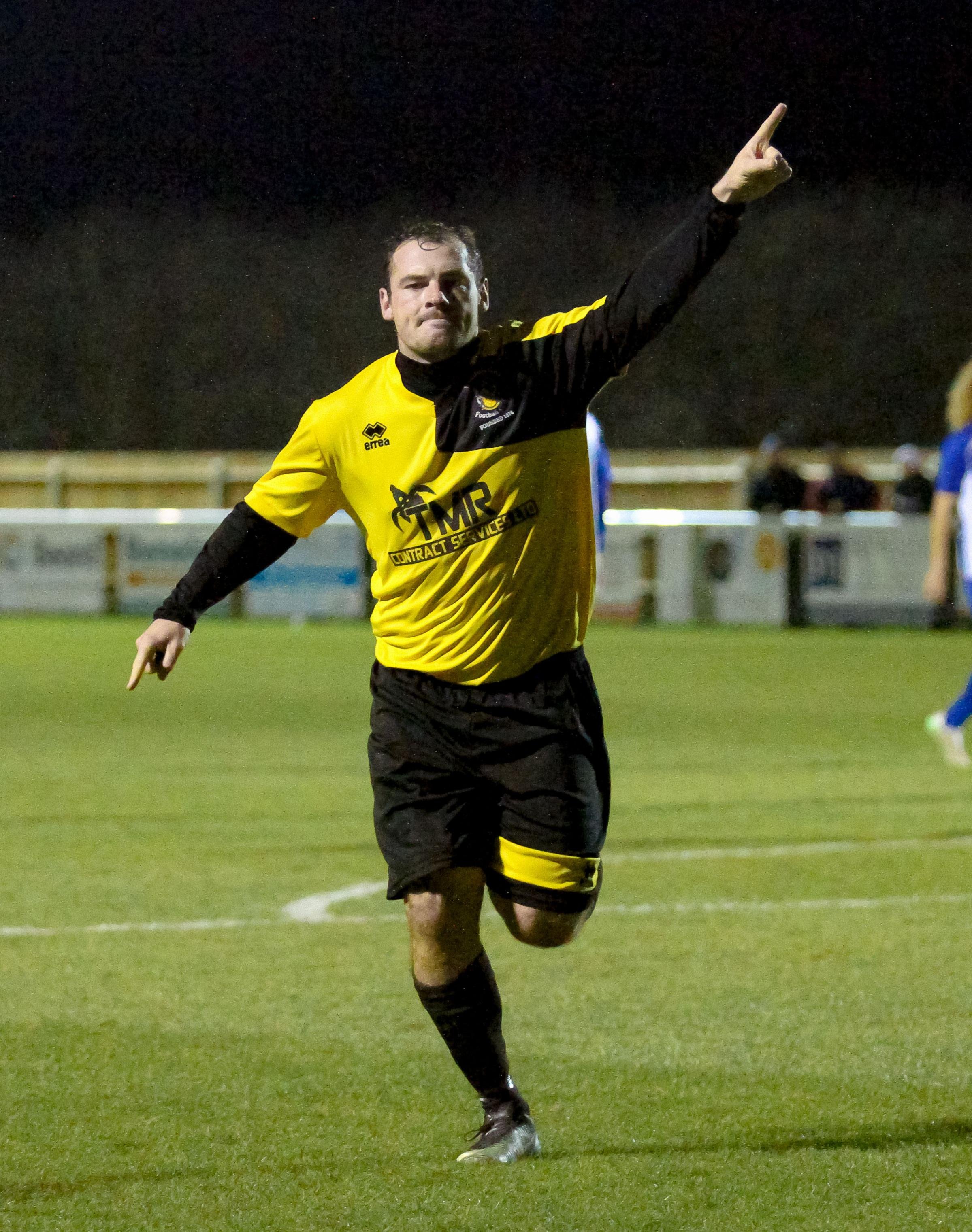 Luke Ballinger celebrates his second goal for Melksham Town against Bridgwater Town. PICTURE: JOHN CUTHBERTSON