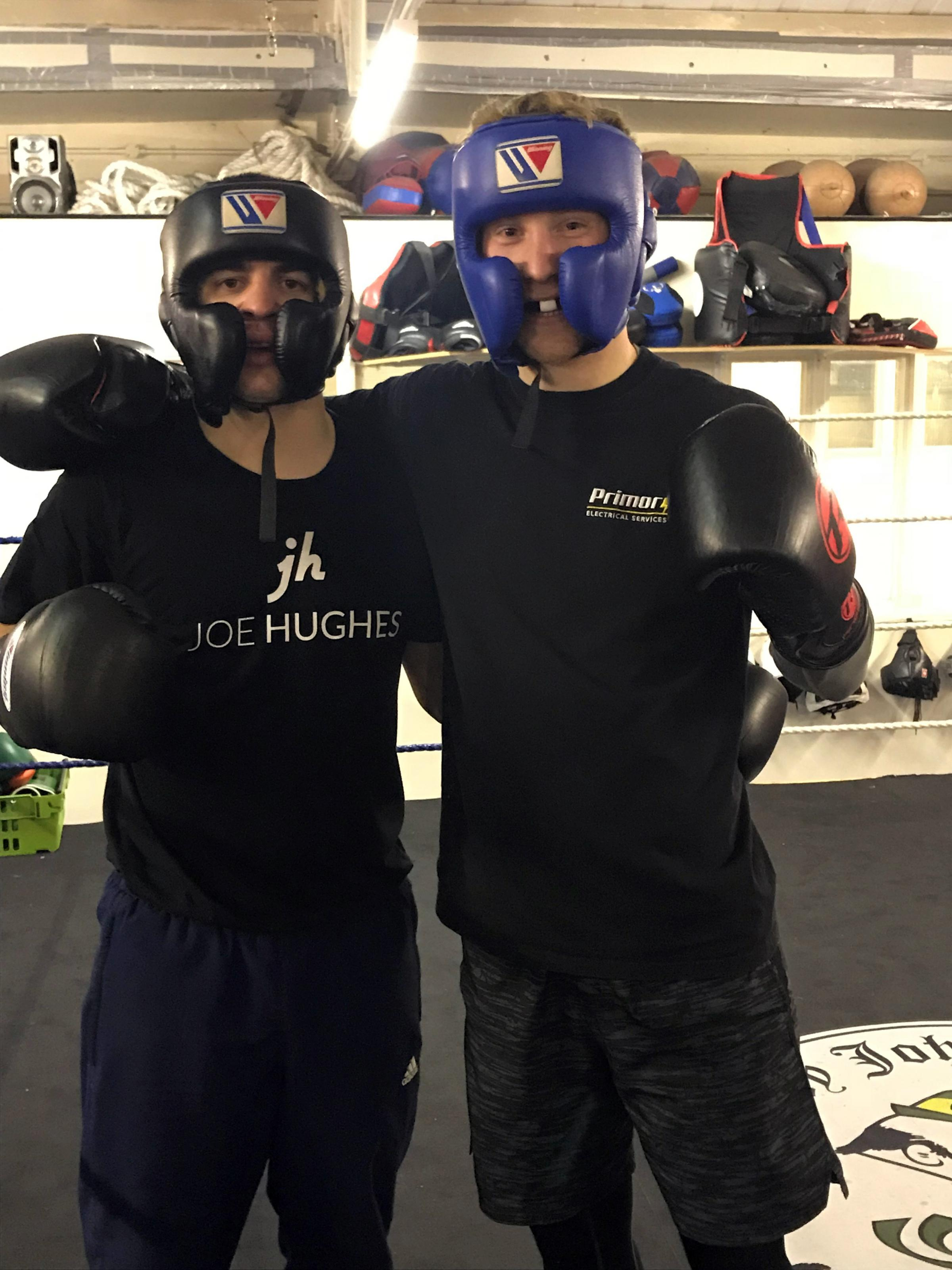 Malmesbury boxer Joe Hughes and sparring partner Kane Stewart, who he did the last 6 rounds with.
