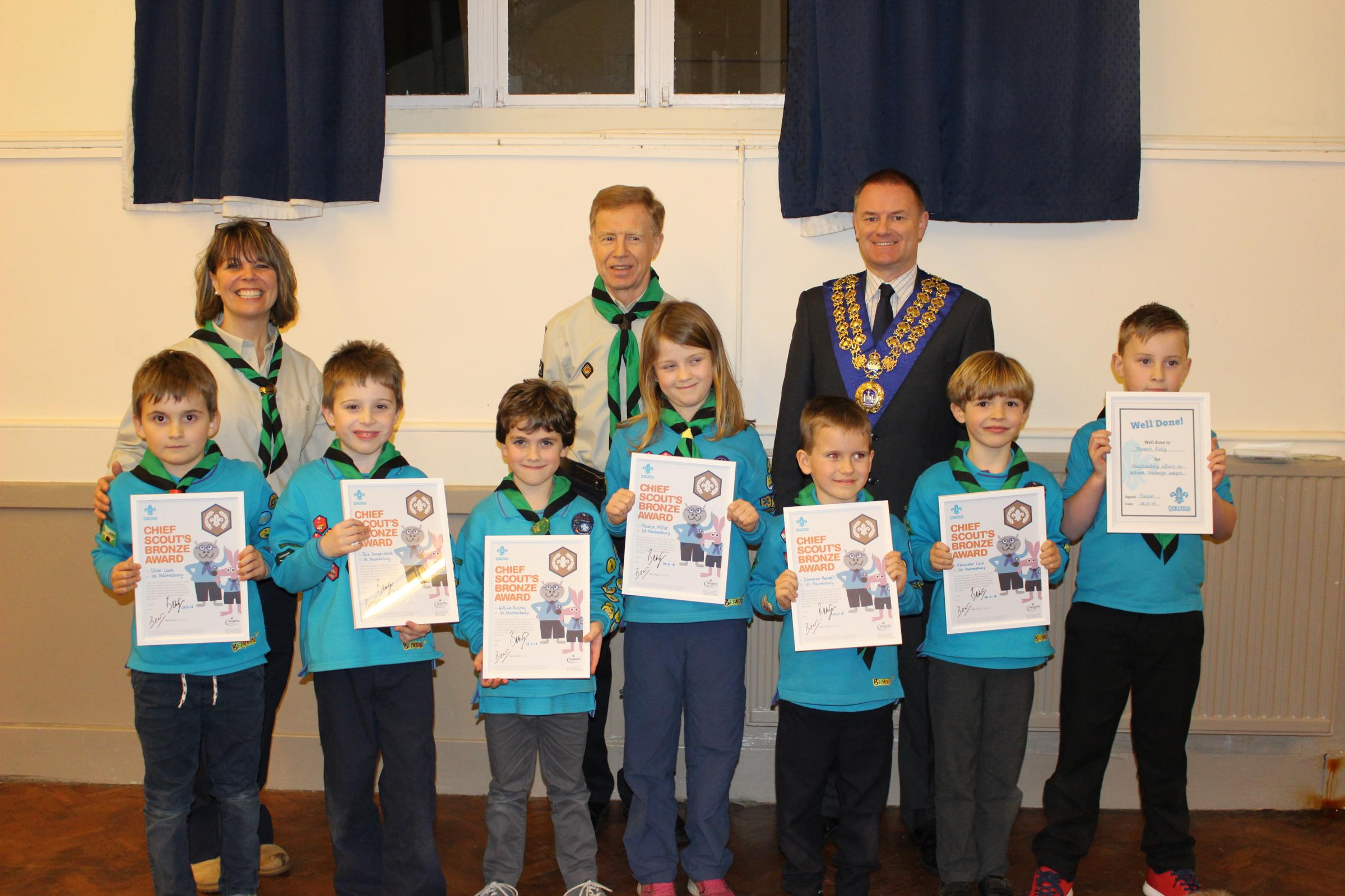 Malmesbury Beavers who were awarded their Bronze Chief Scout Beaver Award with Beaver Scout Leader Gynette Ranger-Walsh, Group Scout Leader Jonathan Barstow and Town Mayor Wayne Jones