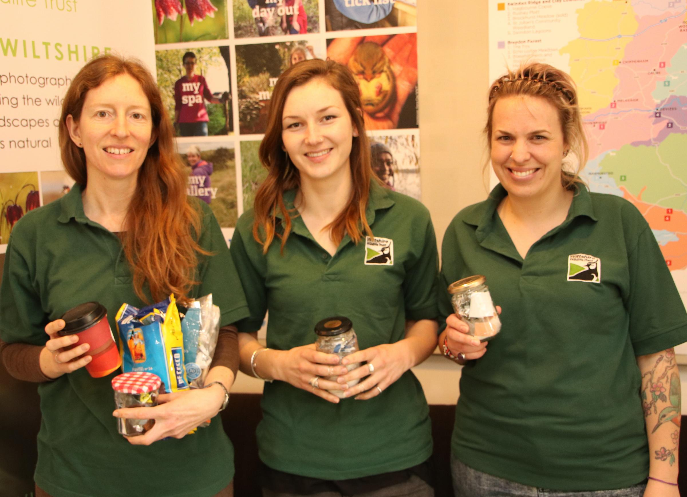 The Waste Education Team: Jessica Thimbleby, Chelsie Phillips and Gemma Annan – credit Ralph Harvey, Wiltshire Wildlife Trust.