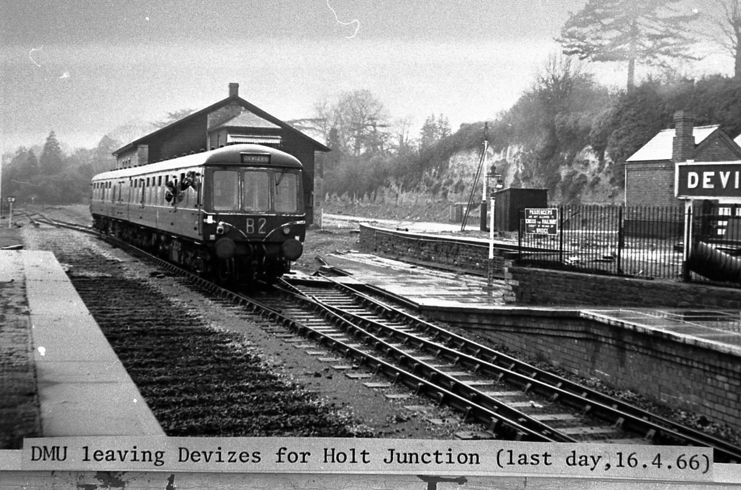 Devizes Station's last day of service on April 16, 1966. A diesel motor unit pulls the last train. Wiltshire Photographers Archive collated by Colin Kearley...