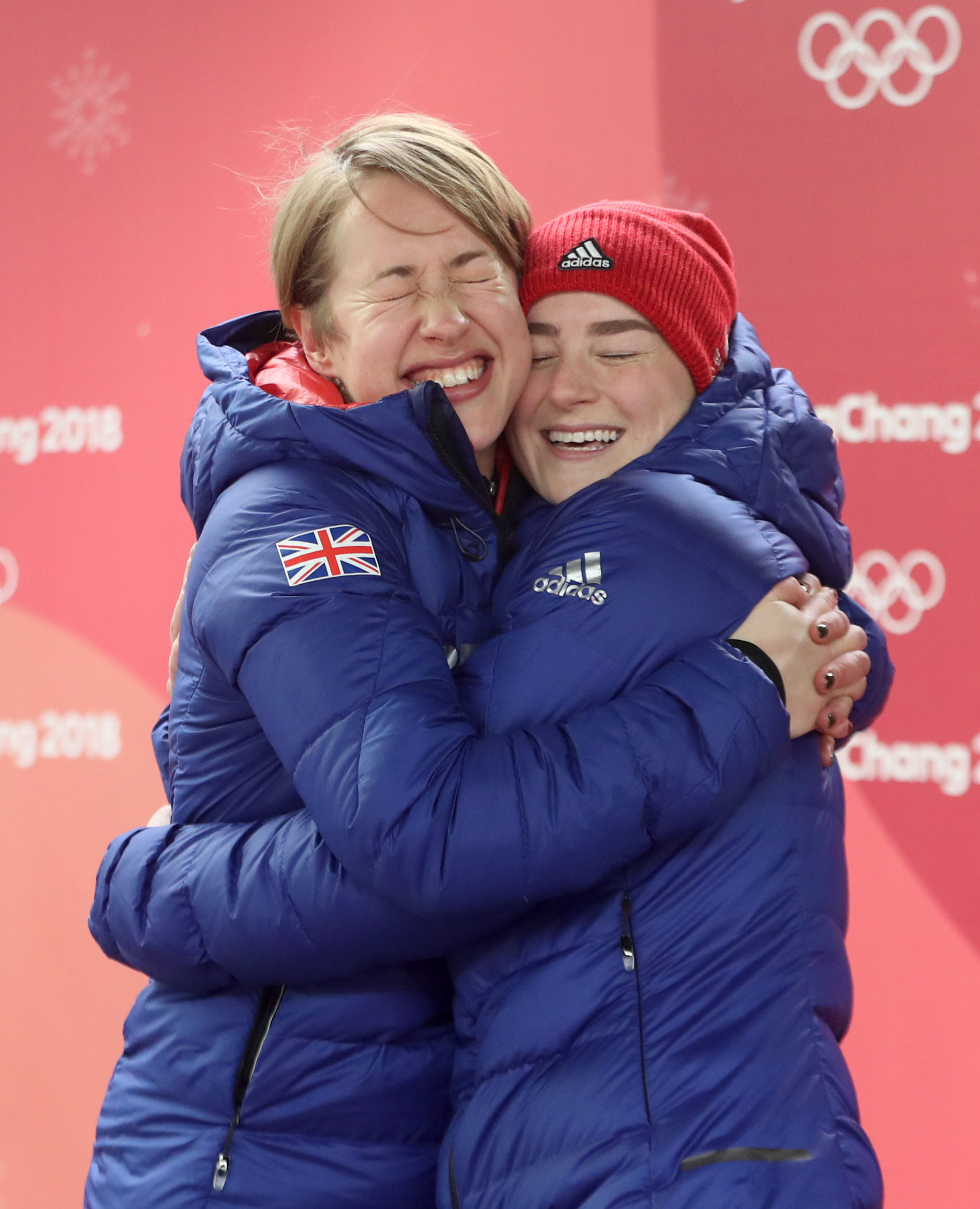 Laura Deas (right) hugs teammate and gold medalist Lizzy Yarnold after their medal success in Pyeongchang