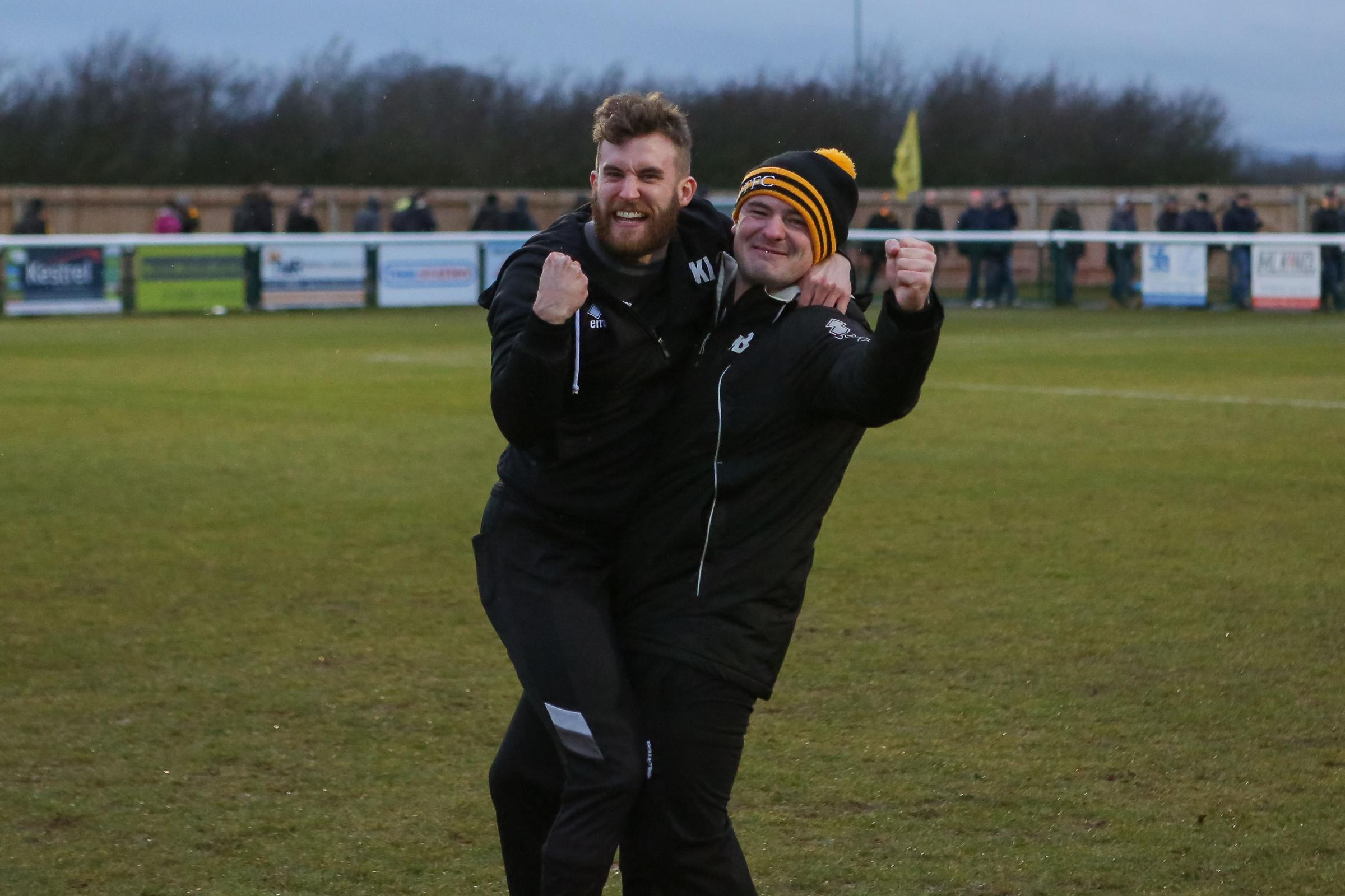Melksham Town manager Kieran Baggs (left) and Luke Ballinger celebrate their win against Tring Athletic in the last round of the Vase Picture: JOHN CUTHBERTSON