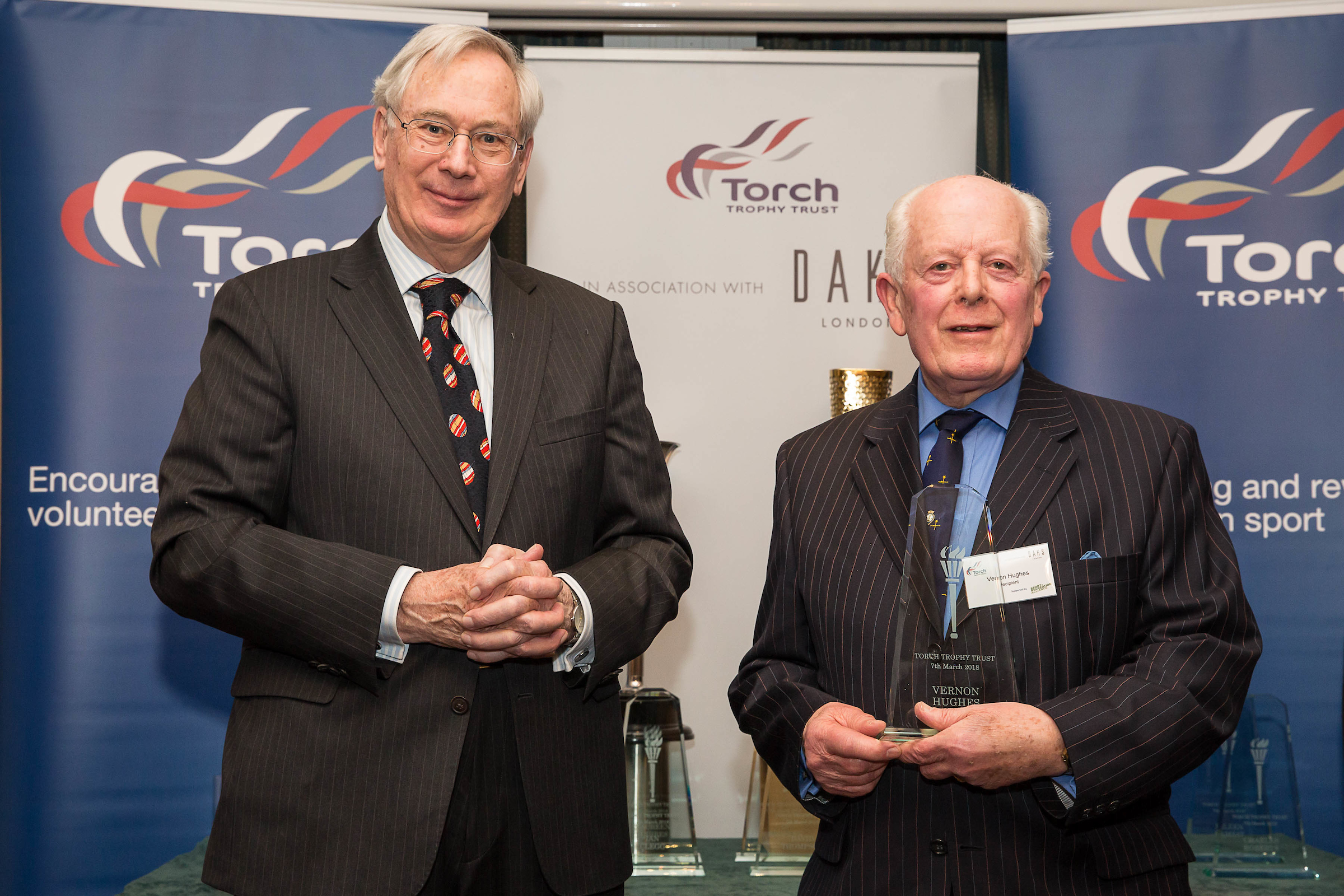 Vernon Hughes receives his 2018 Torch Trophy Trust Awards from HRH The Duke of Gloucester in London