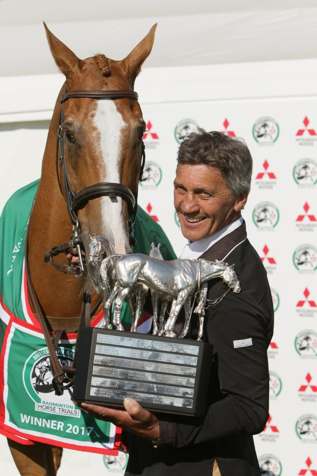Andrew Nicholson celebrates his triumph at Badminton last year with horse Nereo (Picture: PHIL JOHNSON/ EDP PHOTO)