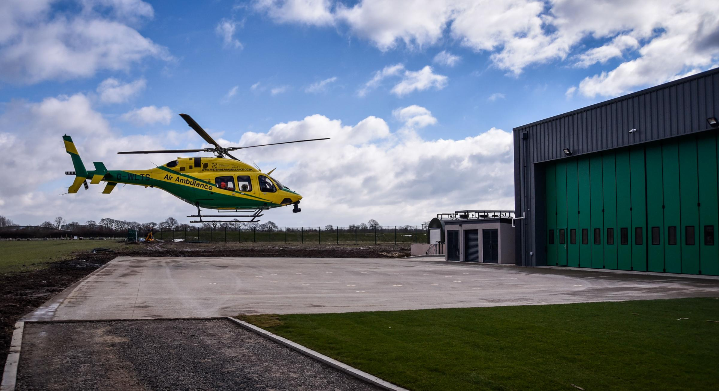 The Wiltshire Air Ambulance landing at the new airbase in Semington. Photo: www.gphillipsphotography.com GP 1240.