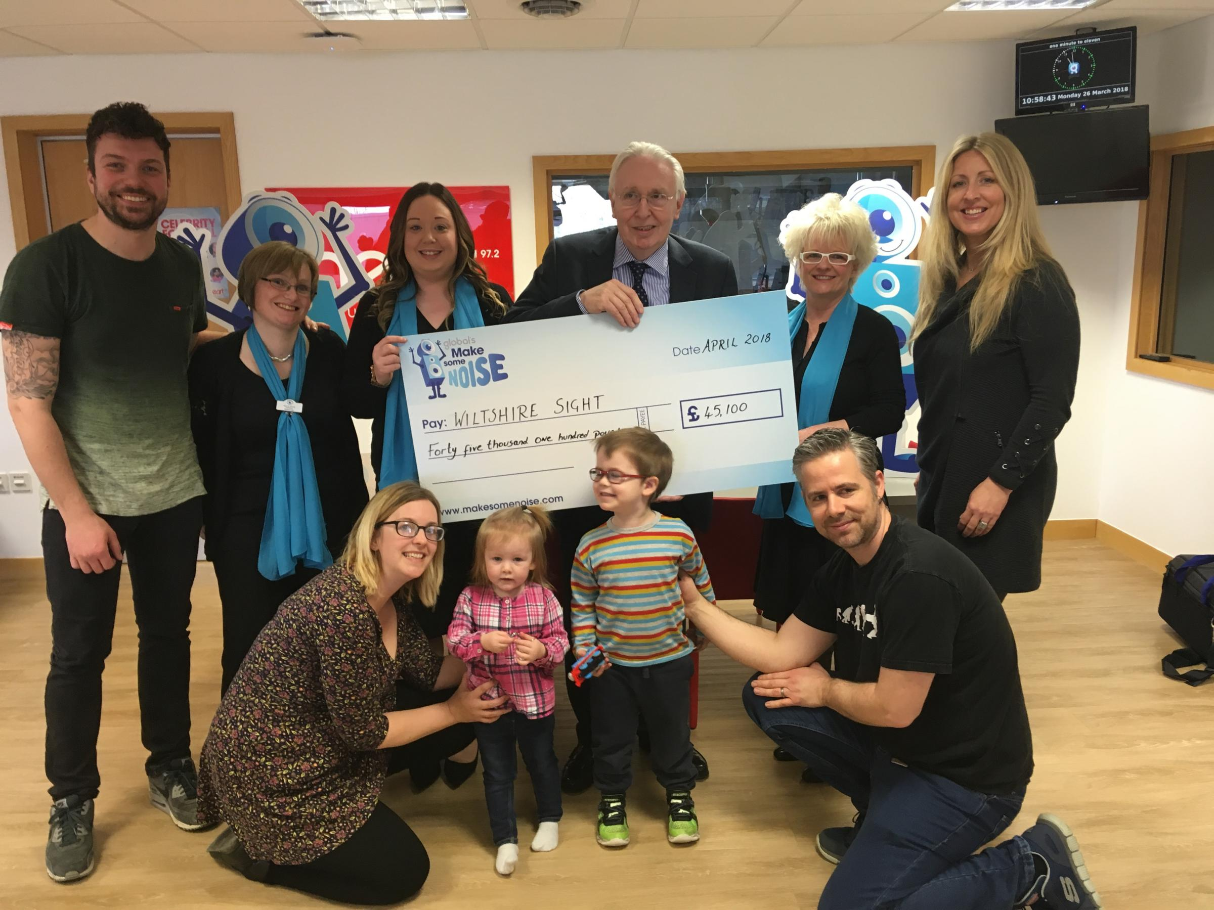 Wiltshire Sight receive a cheque for £45,000 from Heart radio presenters