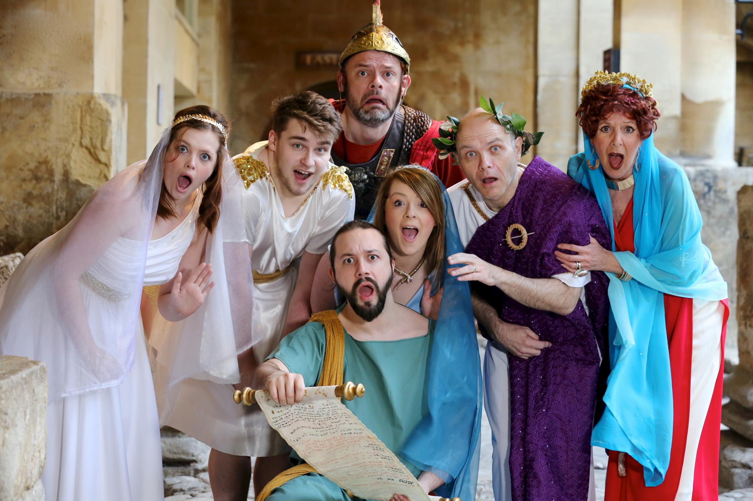 The Wharf Theatre cast get into character at the Roman Baths