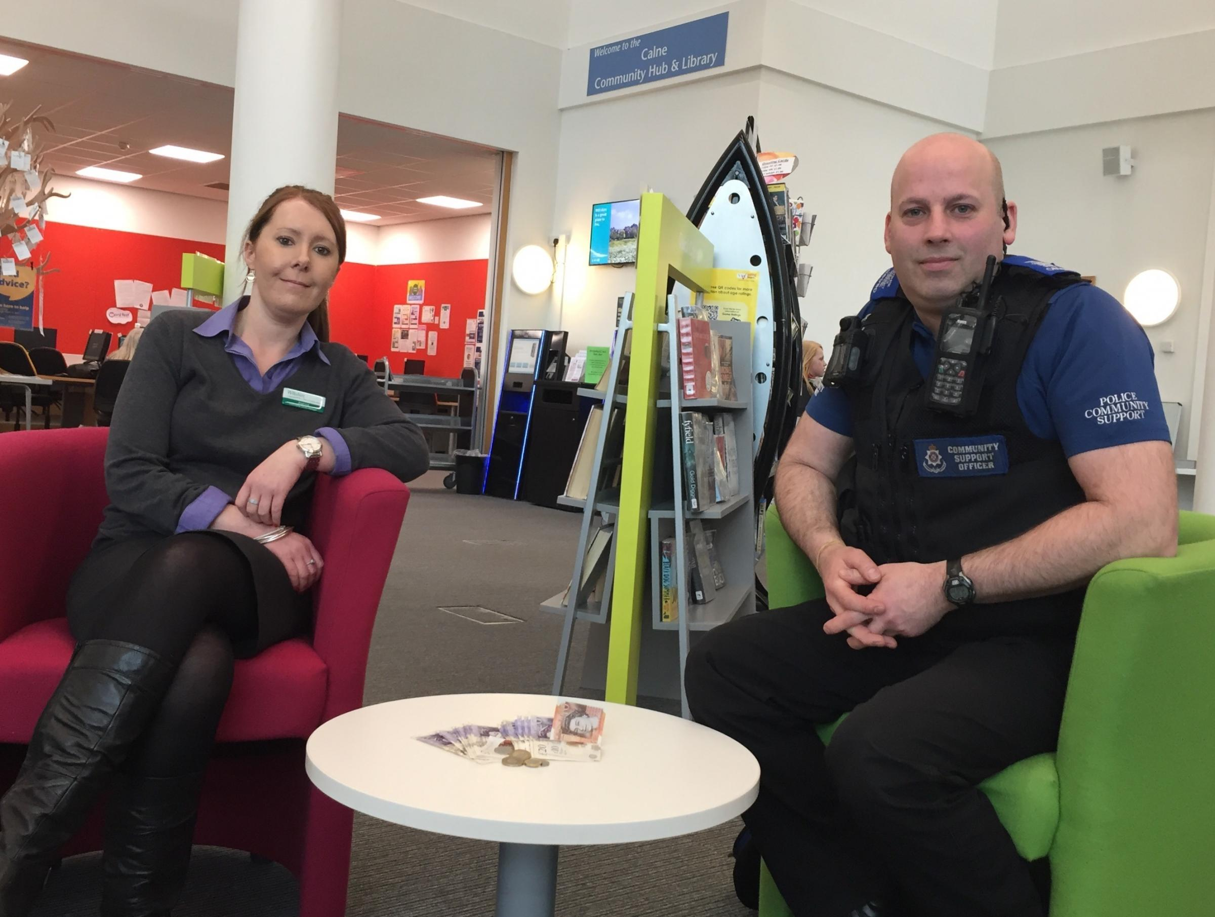 Community Library Manager for Calne Jo Smith and PCSO Mark Cook