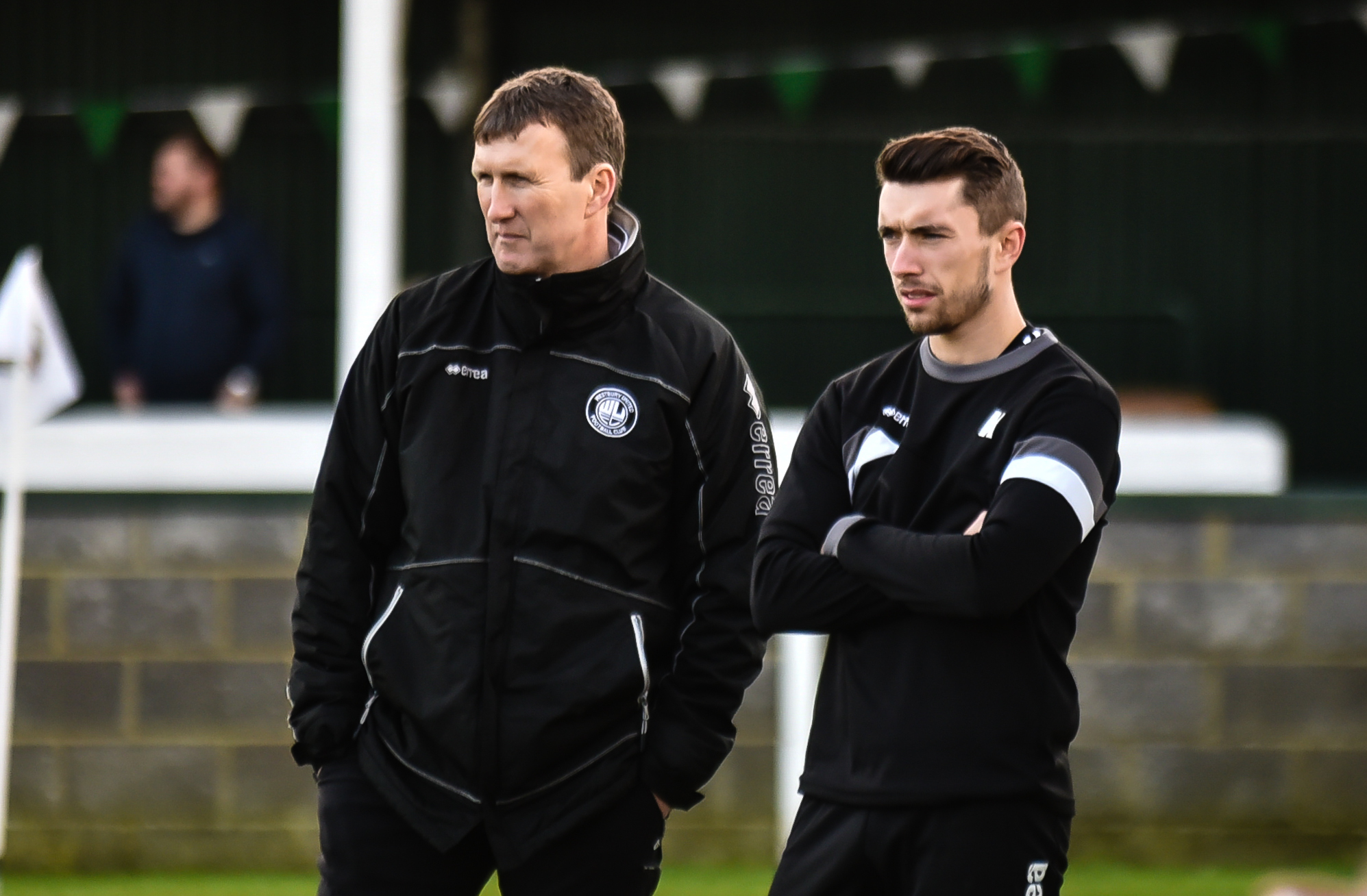 Westbury United's management team of Joe and Neil Kirkpatrick