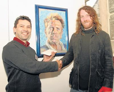 Paul Cummings, right with Nicholas Keyworth and the winning portrait