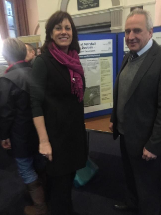 MP Claire Perry and Dr Richard Sandfor-Hill at an exhibition of the proposed urgent care centre.