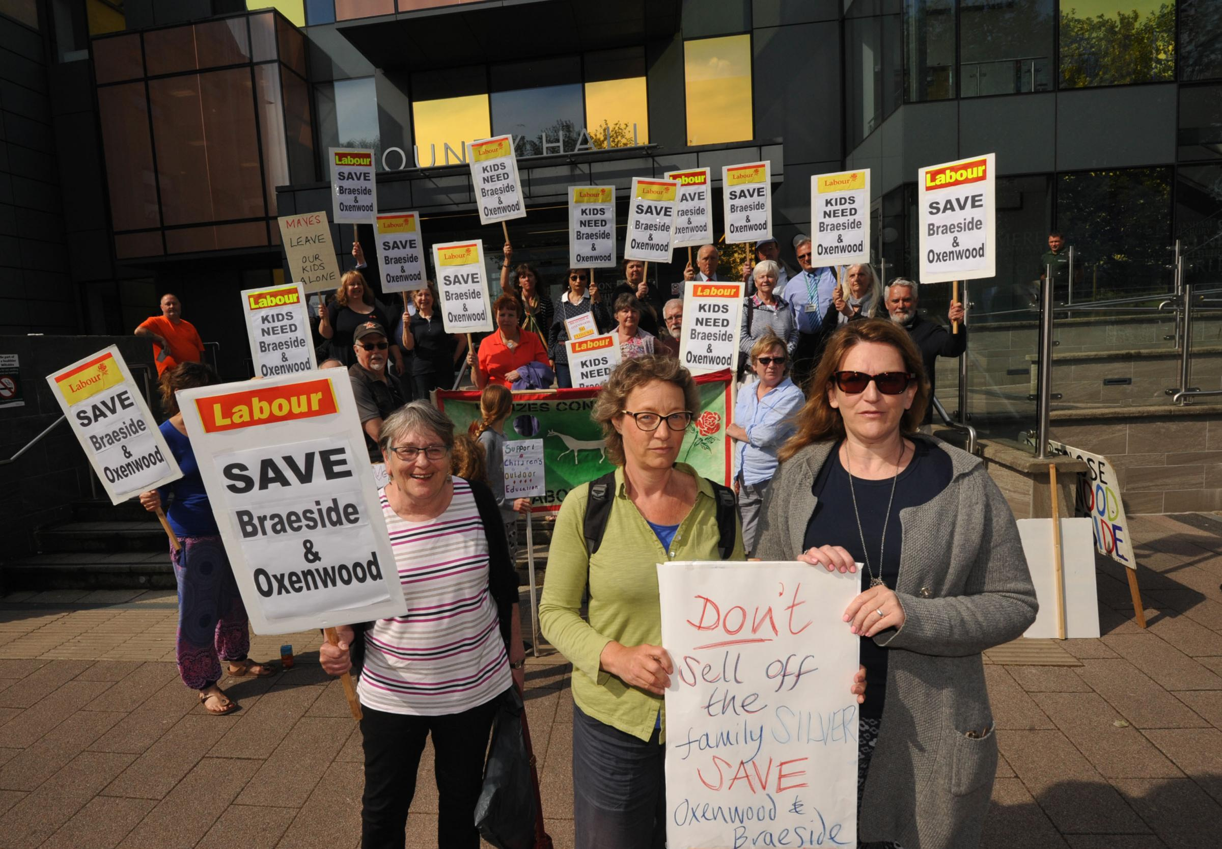 Braeside protest County Hall.  Sylvia Card,  Rachel Ross and and Lucy Gomes with Campaigners against the closure of Braeside and Oxenwood protest at County Hall Trowbridge.. Photo; Trevor Porter 59583 5..