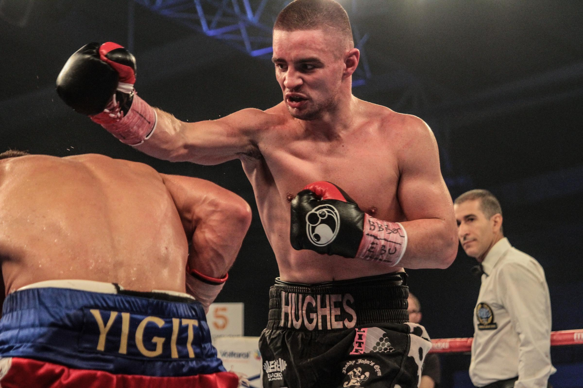 "Joe Hughes v Anthony Yigit, European super-lightweight title fight, ""All Or Nothing'', Leicester Arena, Saturday, December 2, 2017. Picture: NAOMI YOUD."