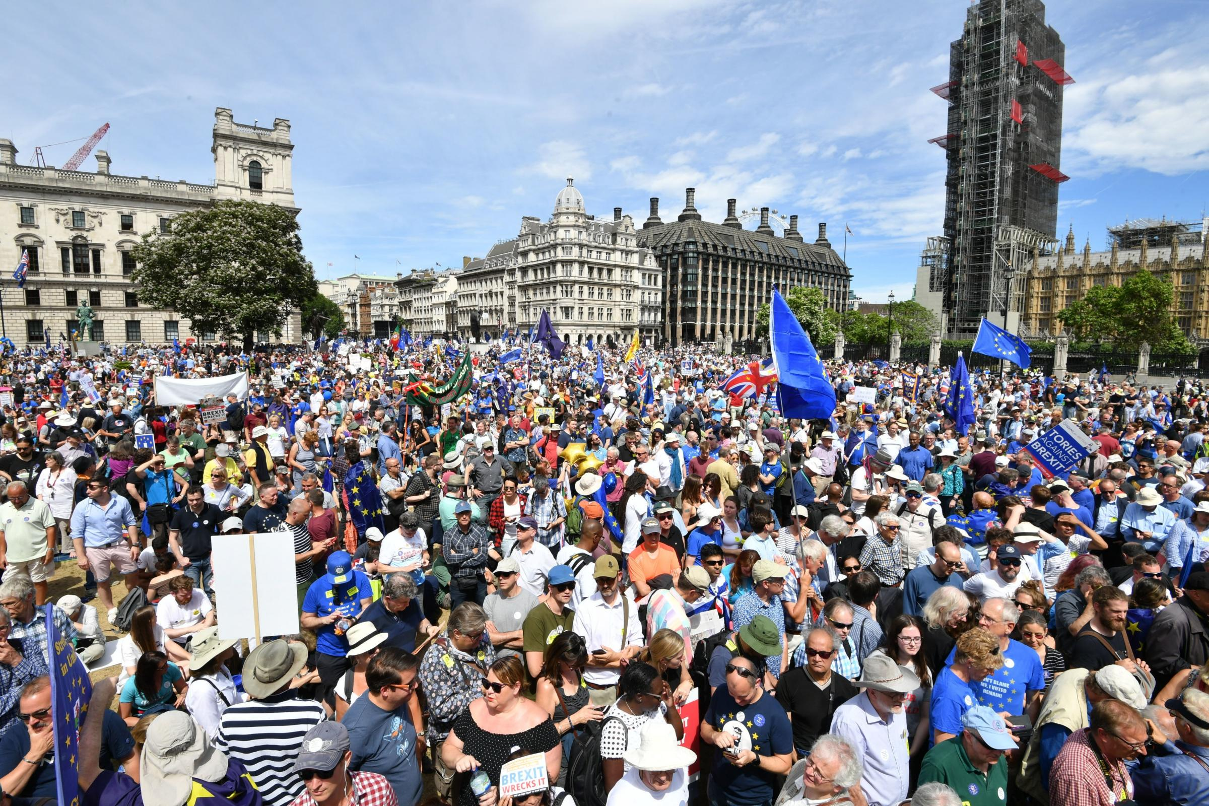 Crowds arrive in Parliament Square in central London, during the People's Vote march for a referendum on the terms of the Brexit deal
