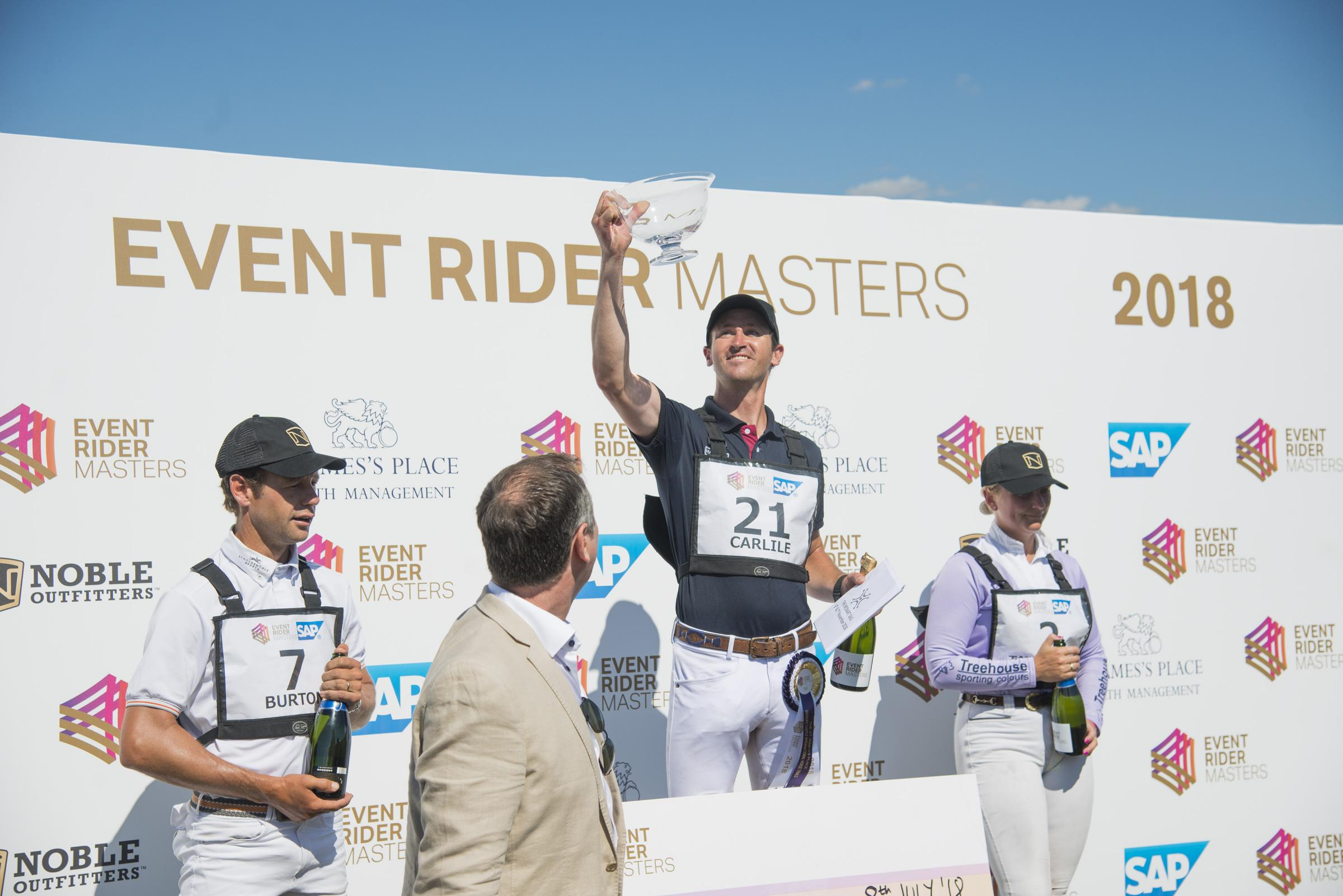 L-R Christopher Burton, Thomas Carlile and Gemma Tattersall on the ERM podium on the final day of the Barbury International Horse Trials.  Picture: Thomas Kelsey