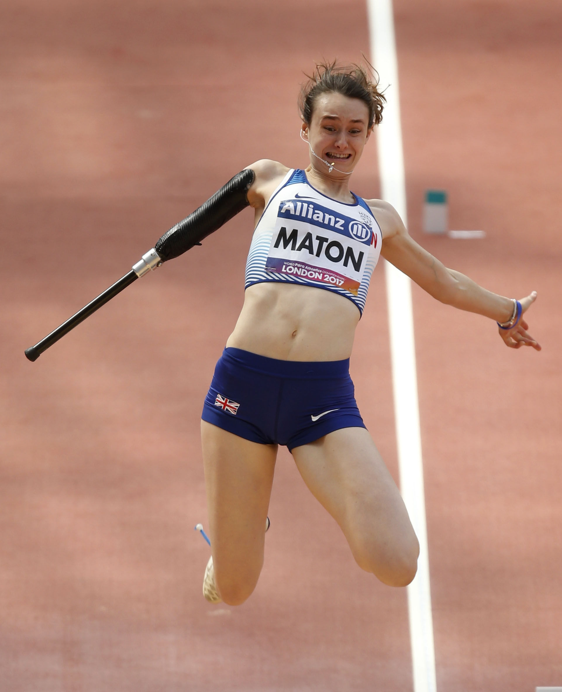 Great Britain's Polly Maton competes in the Women's Long Jump T47 Final during day ten of the 2017 World Para Athletics Championships at London Stadium. PRESS ASSOCIATION Photo. Picture date: Sunday July 23, 2017. See PA story ATHLETICS Para. Phot